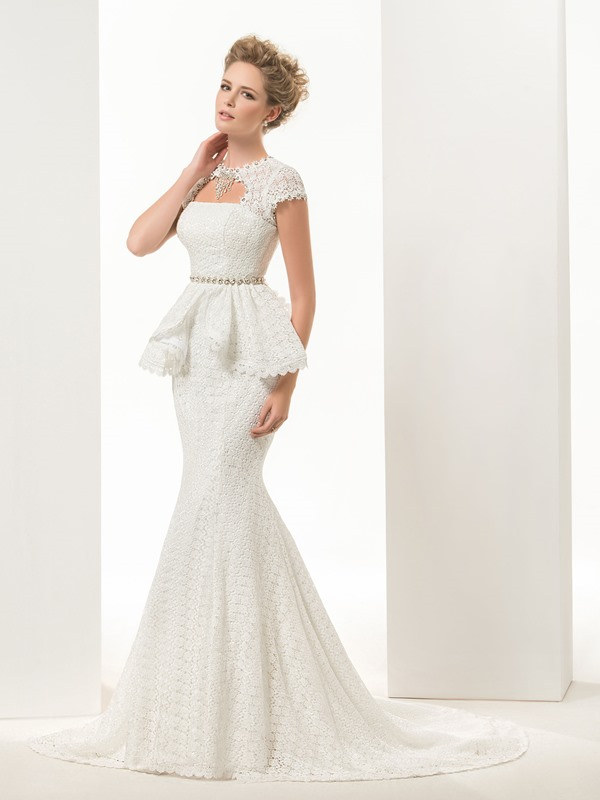 Cap Sleeves Beaded Mermaid Lace Wedding Dress
