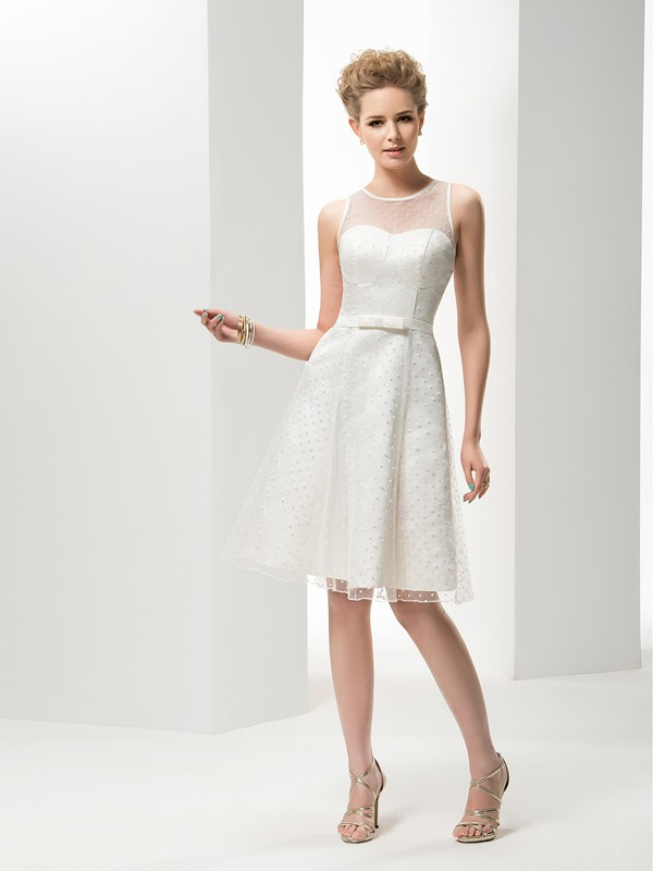 Simple Style Jewel Neck A-Line Knee-Length Wedding Dress(Free Shipping)