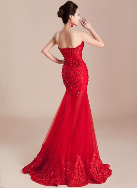 Mermaid Sweetheart Appliques Beading Long Evening Dress(Free Shipping)