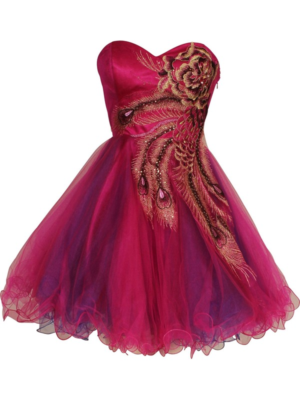Gorgeous A-Line Sweetheart Embroidery Beading Short Cocktail/Homecoming Dress