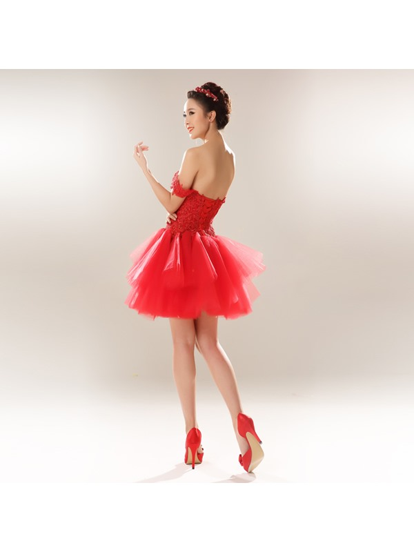 Appliques Off-the-Shoulder A-Line Short Lace-up Homecoming Dress