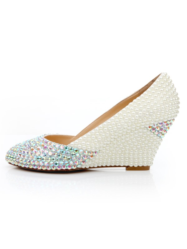 Bright Point Toe Beading Wedge Heel Wedding Shoes
