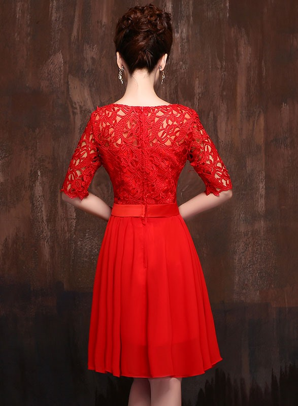Classic Knee Length Half Sleeves Lace Jewel Neck Sashes Bridesmaid Dress(Free Shipping)