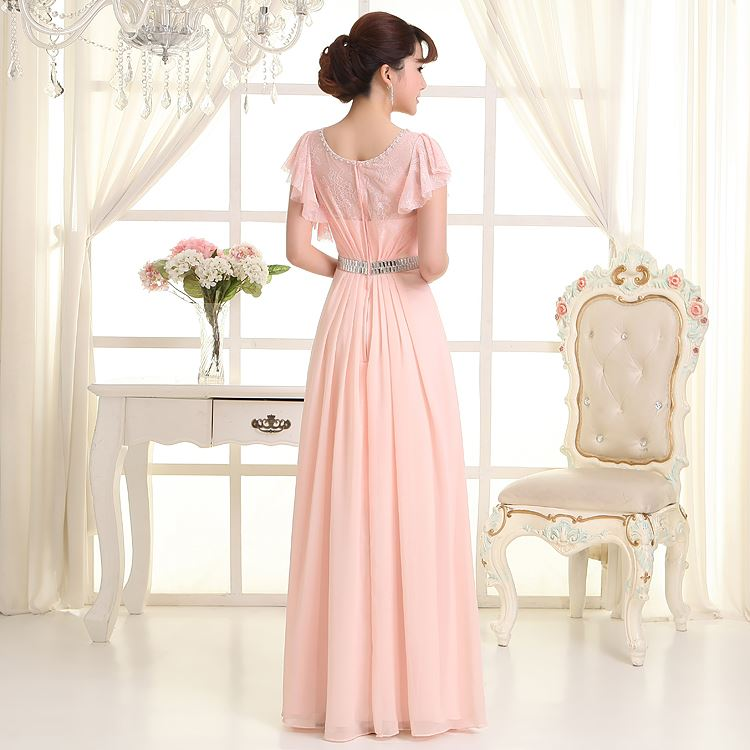 Classic Floor Length Short Sleeves Scoop Neck Sashes Lace Bridesmaid Dress(Free Shipping)