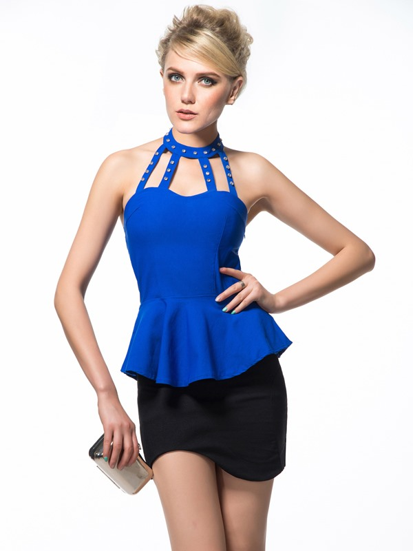 Candy Color Beadings Rhinestone Halter Backless Tank Top(Free Shipping)