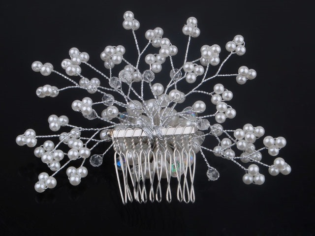 Eye-catching Crystal Pearl Flower Dish Hair Comb Wedding Brides Hair Flower