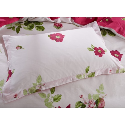 Eye-catching Red Rose Flower and Green Leaves Print 100% Cotton 4 Piece Bedding Sets