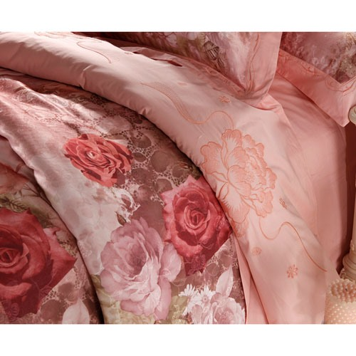 Loveable Pink Rose Flower Print Jacquard 100% Cotton 4 Piece Bedding Sets