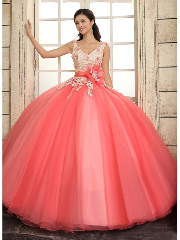 A-Line Straps V-Neck Lace Flowers Quinceanera Dress(Free Shipping)