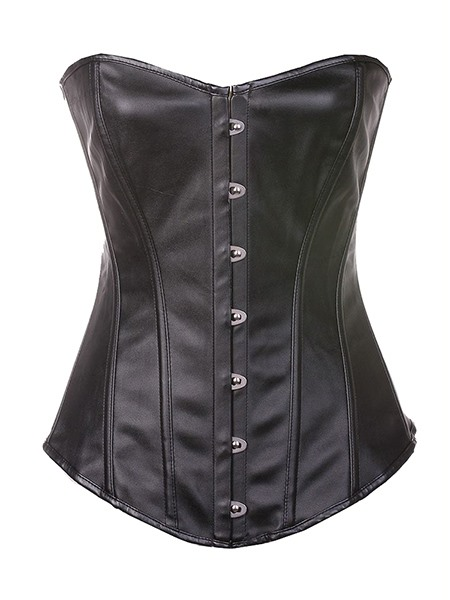 Steampunk Leather Strapless Agraffe Overbust Corsets