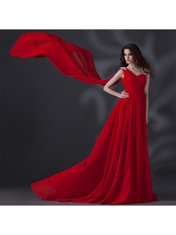 One-Shoulder A-Line Crystal Pleats Lace-up Chapel Train Long Evening Dress