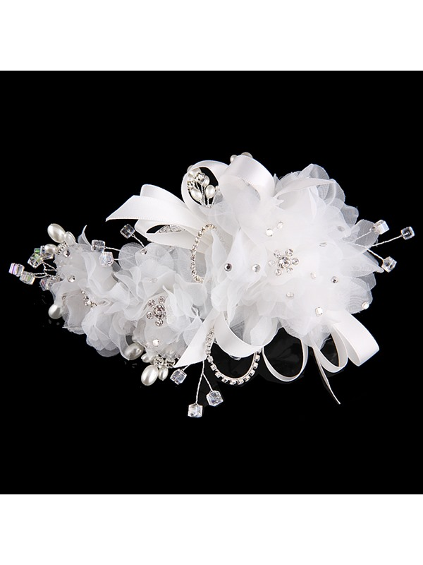 Silk Yarn Flowers Crystal&Pearls Bride Bridesmaid Wedding/Evening Hair Flower