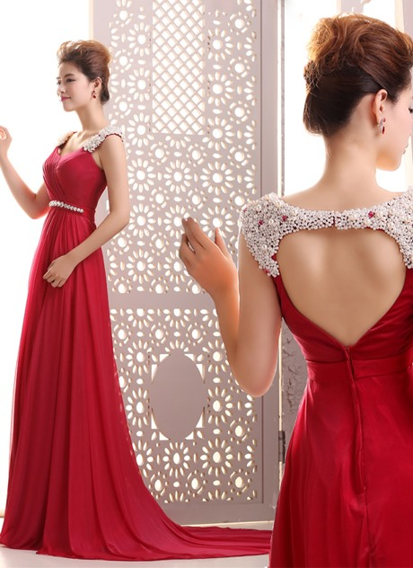 Courtlike A-Line Pearls Beading Backless Court Train Long Evening Dress(Free Shipping)