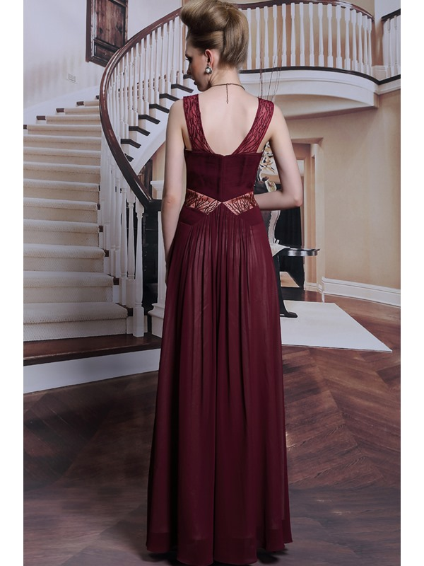Timeless V-Neck Beading Ruched Zipper-Up Floor Length Evening Dress