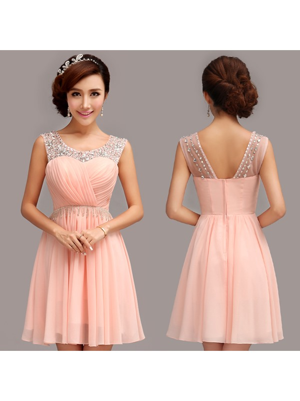 Scoop A-Line Pleats Beading Short Homecoming Dress