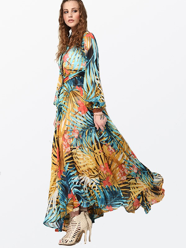 Beautiful V Neck Long Sleeve Floral Print Maxi Dress