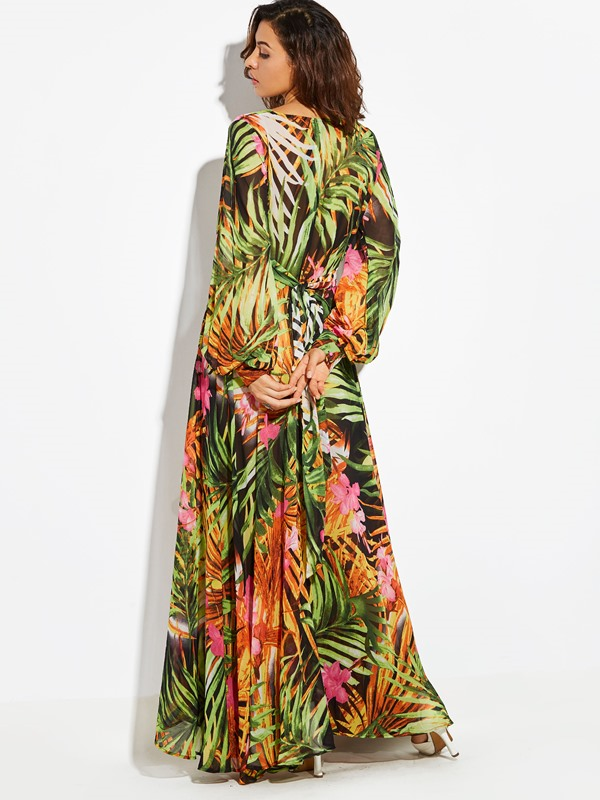 Floral Print V-Neck Long Sleeve Women's Maxi Dress