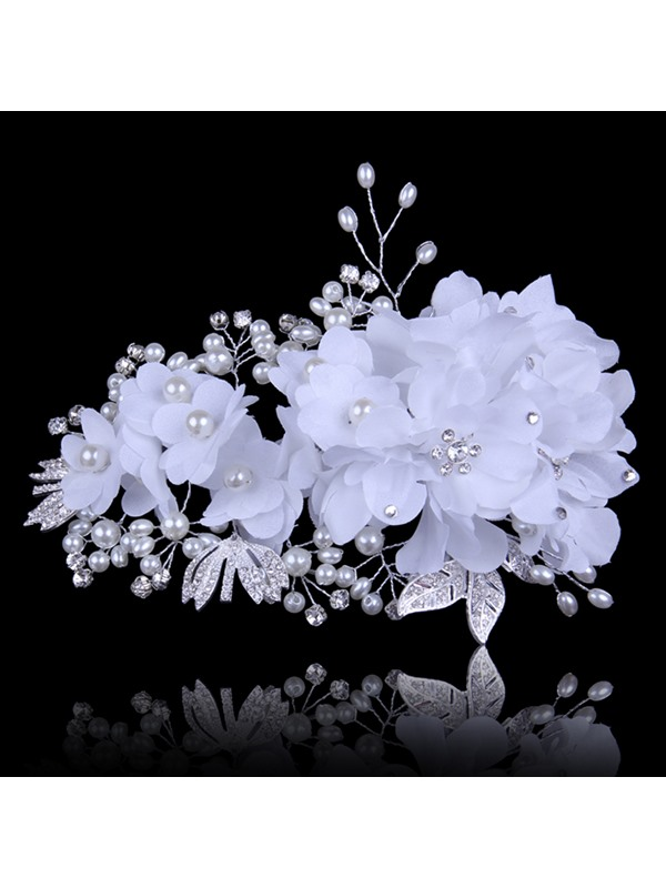 Ladylike Handwork Wedding Dress Accessories Rhinestone Pearl Head Flowers Wedding Hairflower