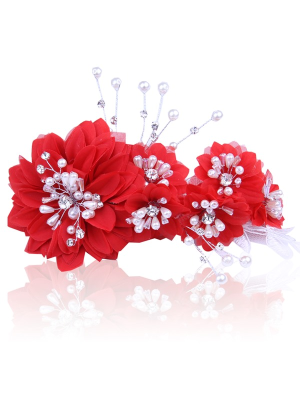 Ladylike Wedding Dress Accessories Pearl Rhinestone Head Flowers Frontlet Wedding Hairflower