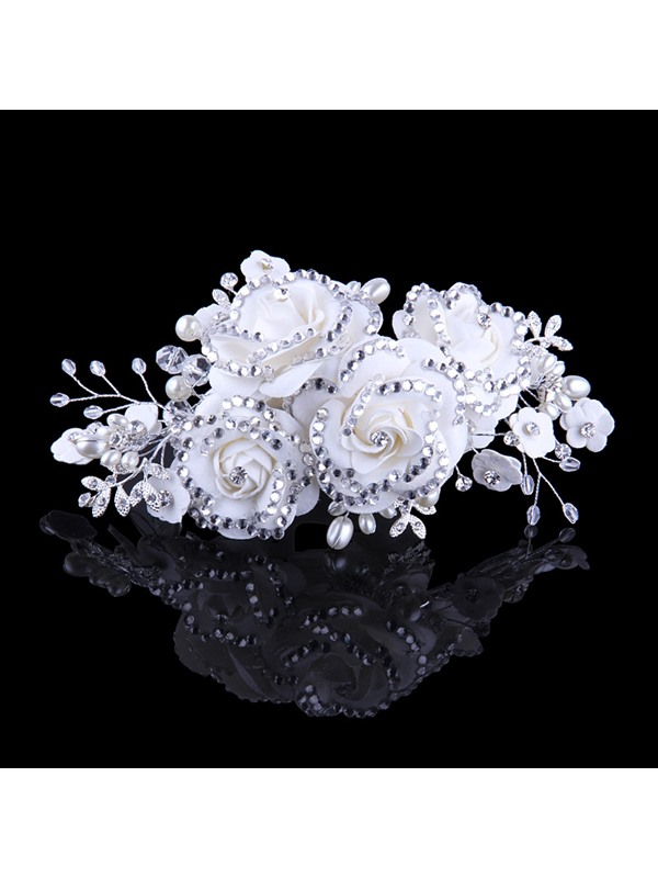 Ladylike Flower Diamond High-Grade Manual Bridal Headpiece With Pearl