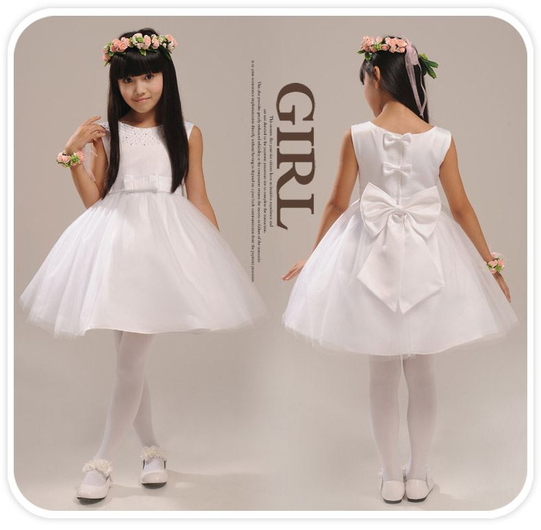 Cute Scoop Neck -Up Knee-Length Bowknot Flower Girl Dress With Jacket/Shawl