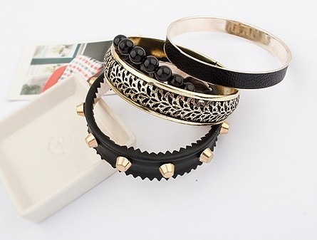 Punk Style Rivets Beads Multilayers All-matched Bangle