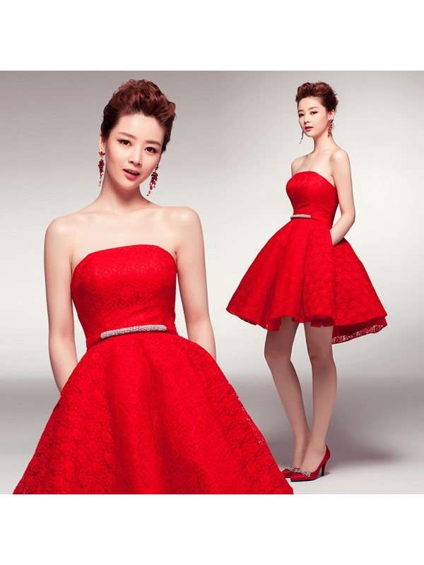 Modern A-Line Sash Lace Short-Length Lace-up Homecoming Dress