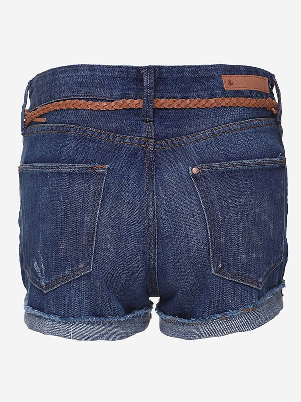 Stylish Denim Blue Slim Jeans Shorts with Belt