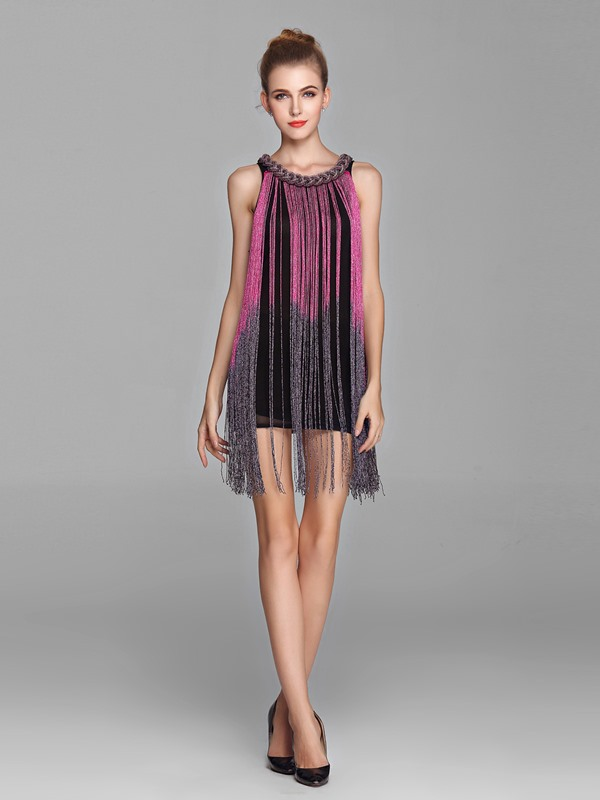 Chic Scoop Neck Tassel Beading Short Sheath Cocktail/Party Dress