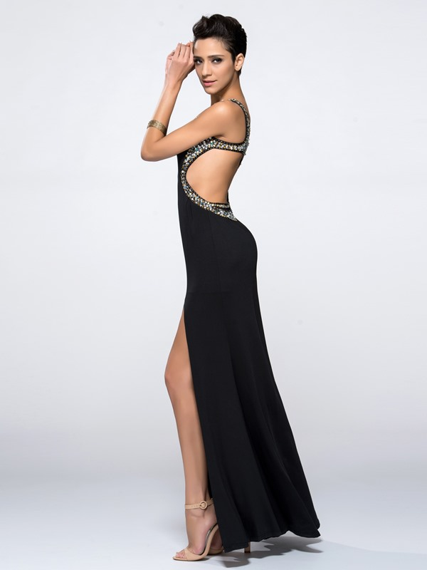 Sexy Backless Sheath Hollow Beading Split-Front Long Black Evening Dress(Free Shipping)