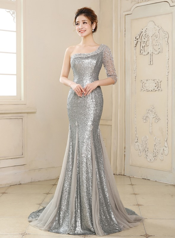 Mermaid One-Shoulder Sequins Beading Evening Dress(Free Shipping)