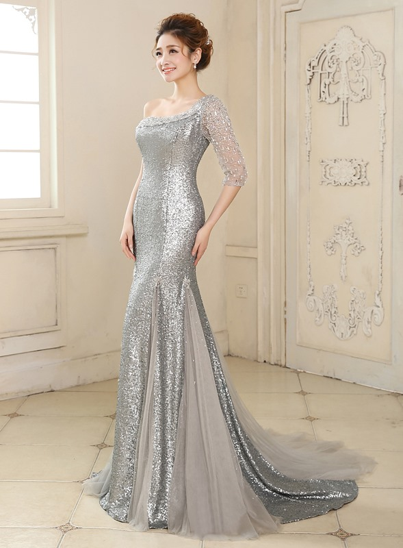 Mermaid One-Shoulder Half Sleeve Sequins Beading Long Evening Dress(Free Shipping)