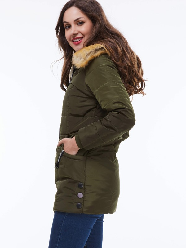 Faux Fur Hooded Long Sleeve Thick Women's Puffer Coat