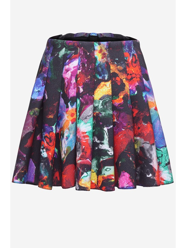 Black Printed Designer Style Soft Slim Pleated Skirt(Free Shipping)
