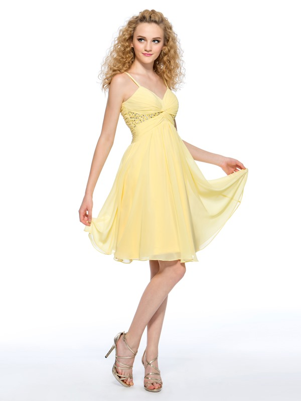A-Line Spaghetti Straps Pleats Sequins Homecoming Dress
