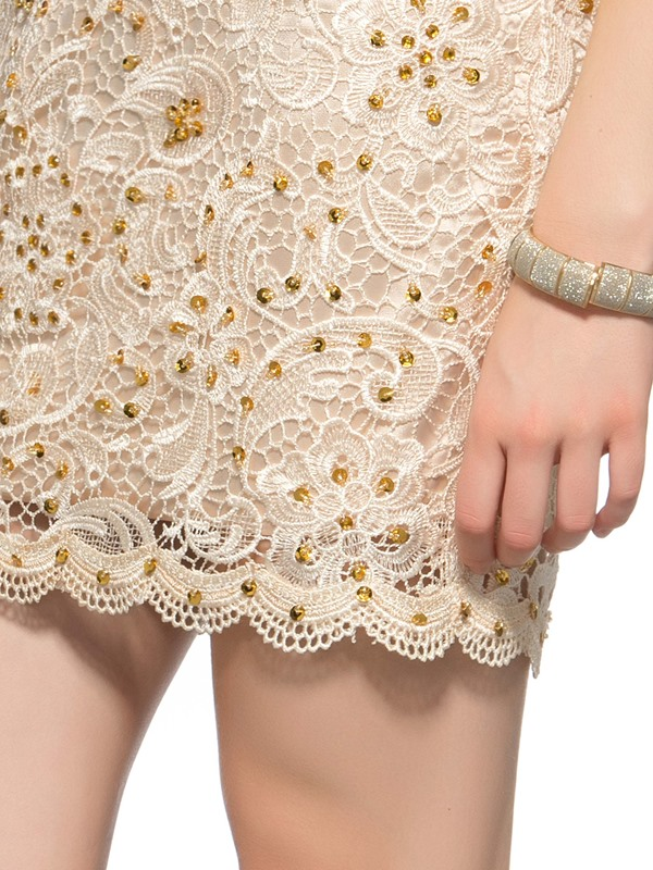 Column Lace Tulle Back Sequins Short Homecoming Dress