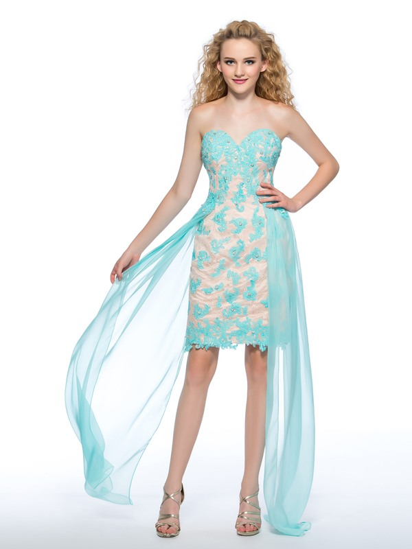 Superior Column heart Appliques Beading Asymmetrical Homecoming/Prom Dress