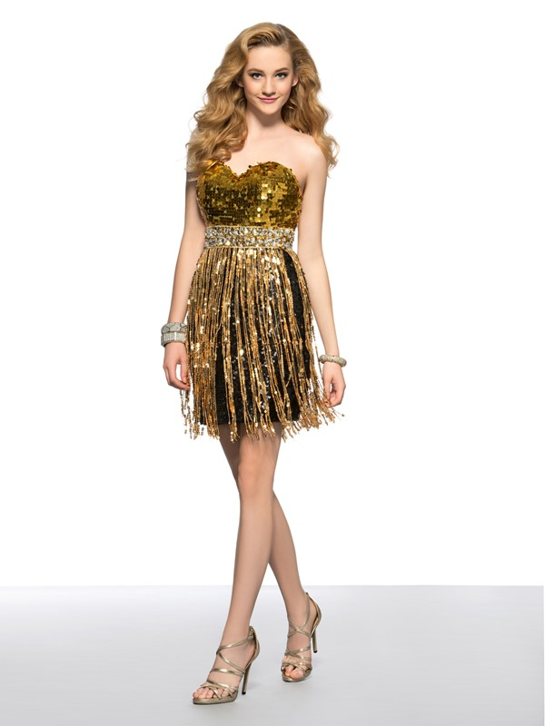 Cool A-Line Sweetheart Beaded Sequins -up Short Homecoming/Cocktail Dress