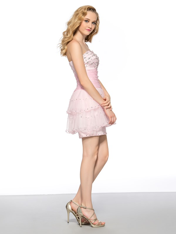 Classy Sweetheart Beading Sequins Column Lace-up Short Homecoming Dress