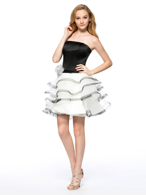 Cool A-Line Strapless Flower Tiered Short Homecoming Dress