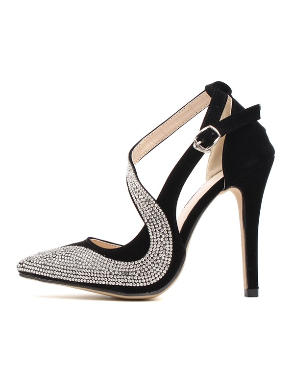Rhinestone Pointed-toe Slingback Stiletto Heel Pumps