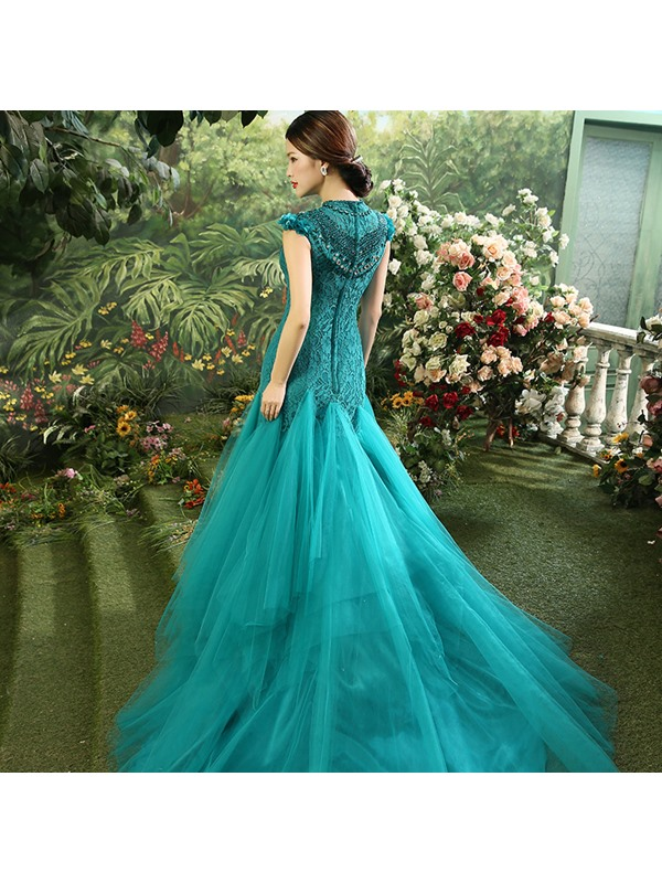 Vintage High Neck Lace Crystal Cap Sleeves Long Evening Dress
