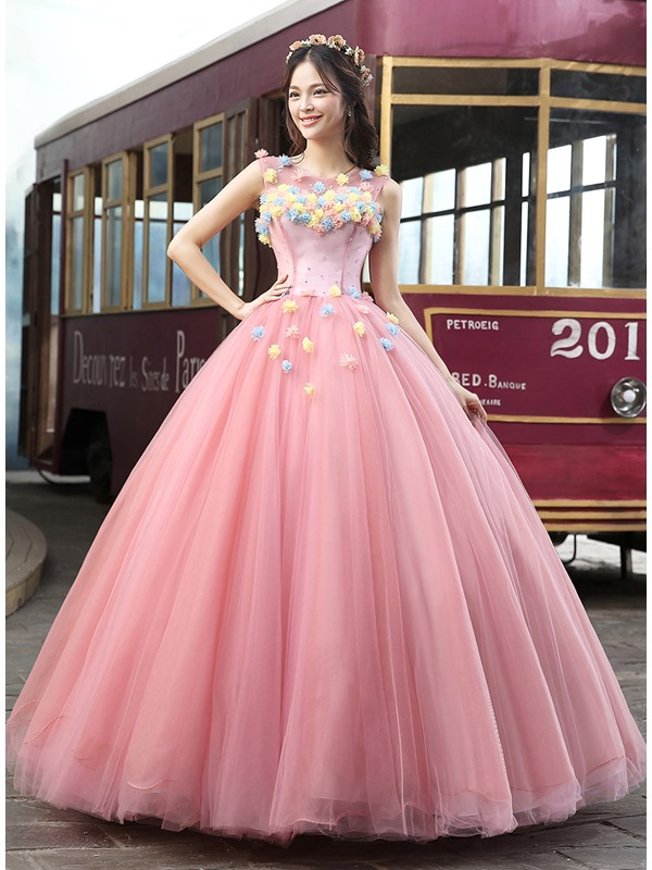 Scoop Neck Flowers A-Line Long Quinceanera Dress
