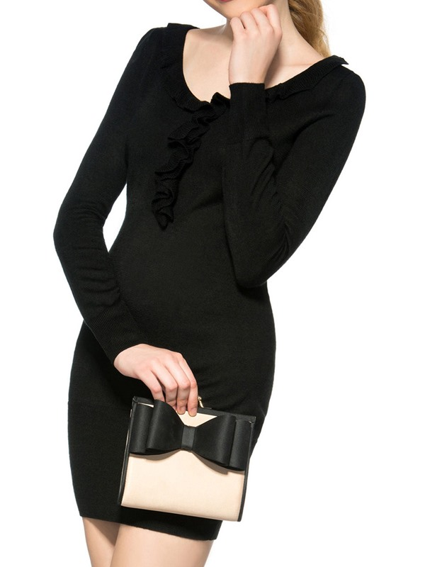 Black Falbala Patchwork Long Sleeve Women's Sweater Dress