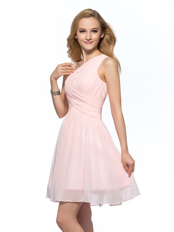Cheap One-Shoulder Ruched A-Line Short Homecoming Dress
