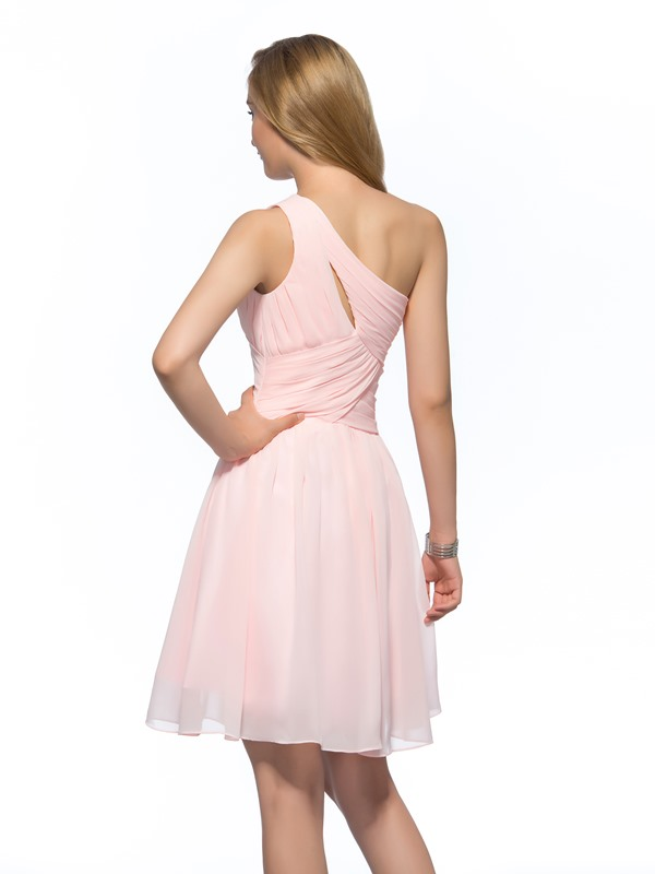 Simple Cheap One-Shoulder Ruched A-Line Short Homecoming Dress