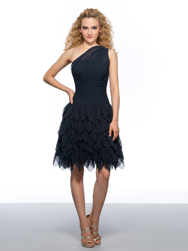 Fancy One-Shoulder A-Line Tiered Pleats Mini Homecoming Dress