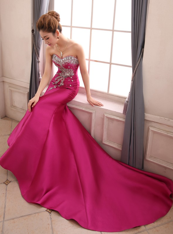 Graceful Sweetheart Beading Crystal Chapel Train Lace-up Mermaid Evening Dress(Free Shipping)