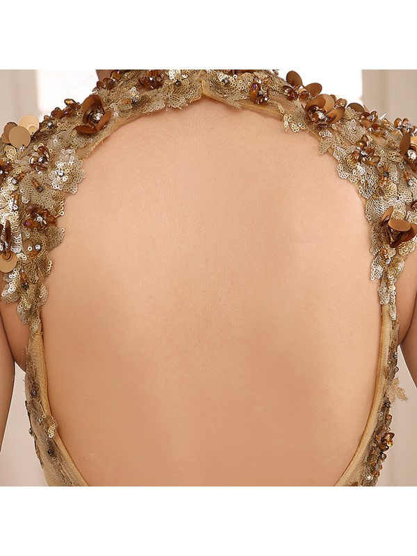 Vintage High Neck Mermaid Appliques Evening Dress(Free Shipping)