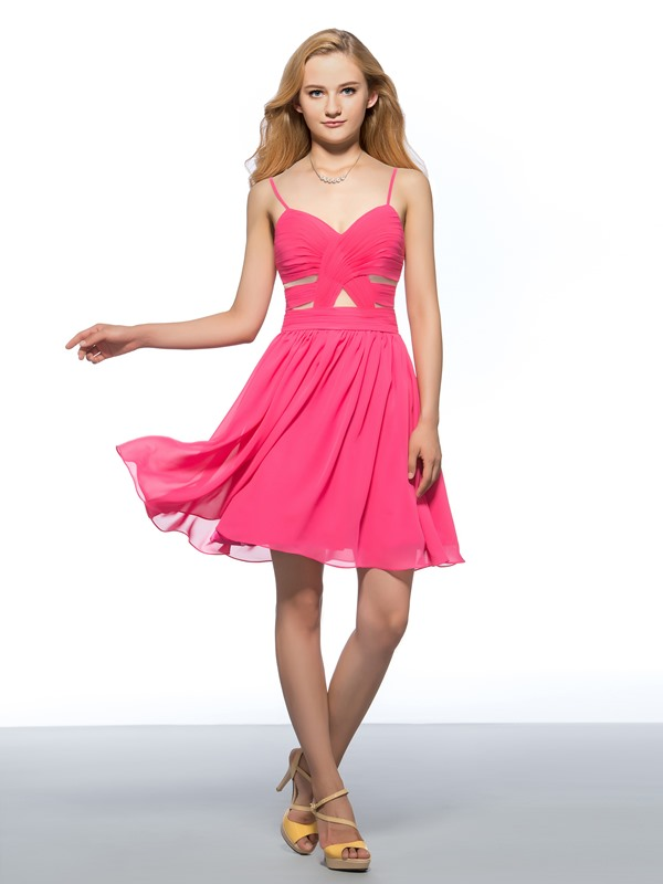 Spaghetti Straps Sweetheart Ruched Short Homecoming Dress